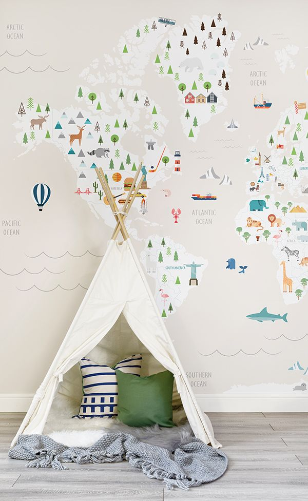 Cream ultimate kids map wall mural pinterest native country this world map wallpaper design features adorable characters and monuments in their native countries perfect for childrens playrooms and gender neutral gumiabroncs Gallery