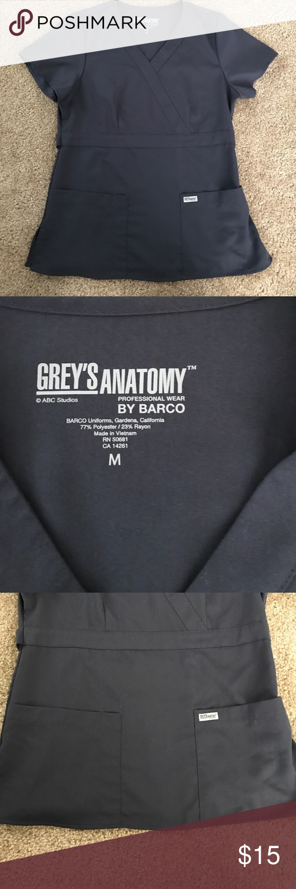 Scrub top NEVER WORN! Grey\'s Anatomy scrub top. Charcoal gray/steal ...