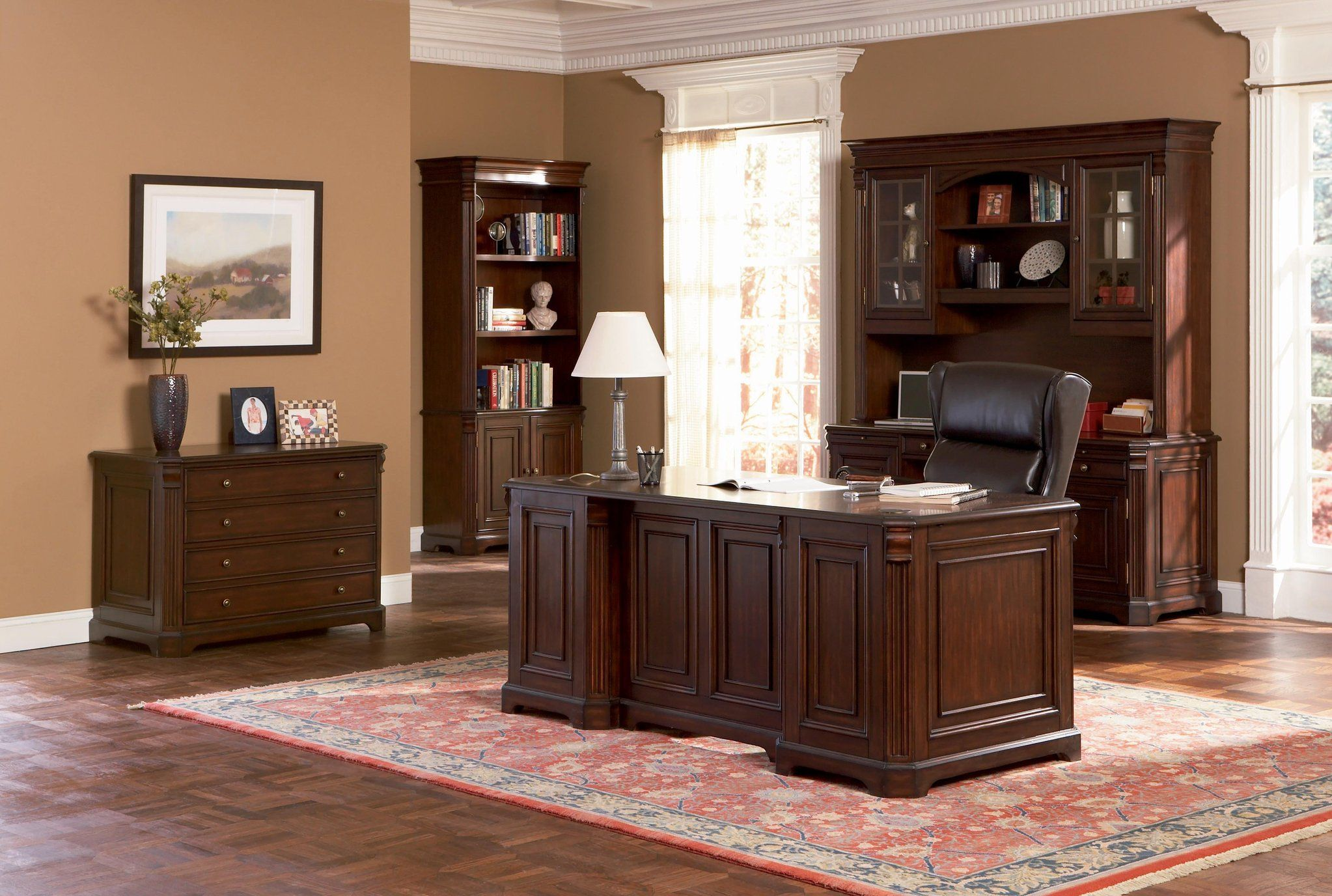Brown Wood Desk Set Clic Paneled Home Office Furniture Collection In Medium Walnut Finish 4820