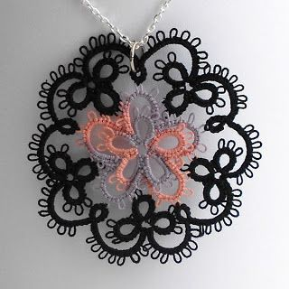 Peachtree Cottage Creations: A New Pendant I made this pendant based upon the Flower Medallion design at Be-Stitched. I decided to make the center part pink and lavender to make it seem more like a 5 petal flower, then edged it with black to give it more of a victorian or goth look. I like how it came out but I'm thinking it would look even better with a more vibrant color center. http://www.be-stitched.com/pattern0910medallion.php