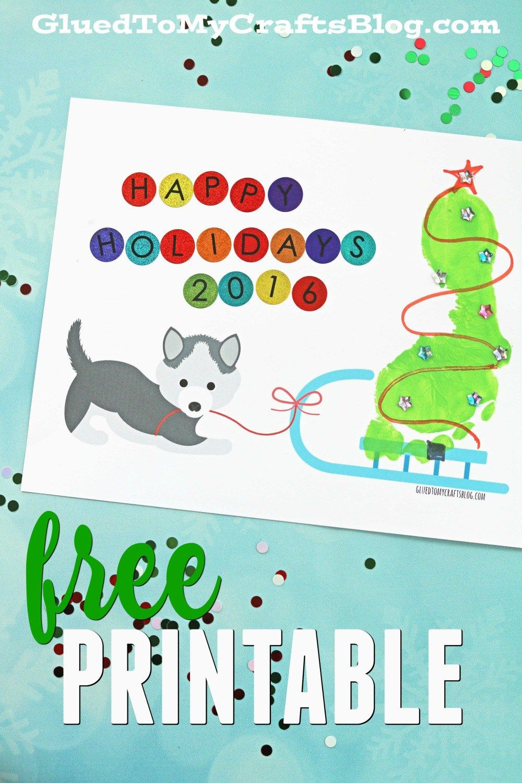 Footprint Christmas Tree on Sled - Free Printable   Footprints, Free ...
