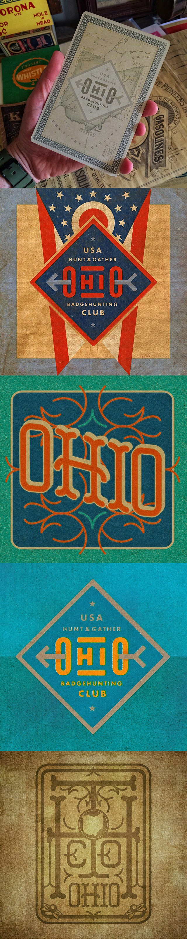 Ohio Badges- vintage studies and collaborations.  The Ohio Badgehunting Club studies are a collaboration with Allan Peters.  He provided me with his vector file and I remixed the palettes, textures and vintage details.  The additional Ohio-themed badges are Type Hunter originals.  #typehunter #typehunting #badgehunting