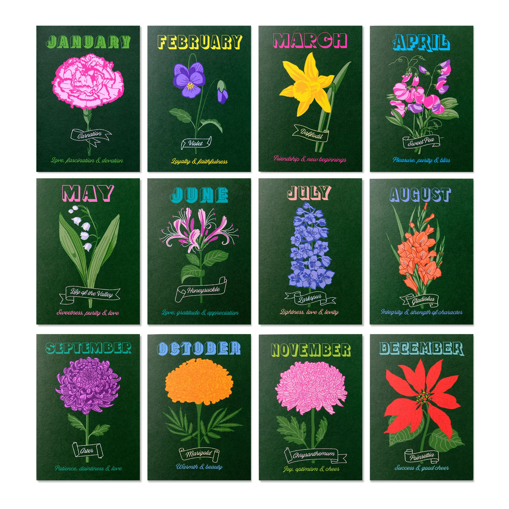 Birth Flower Card Set Flower Cards Birth Flowers Flowers