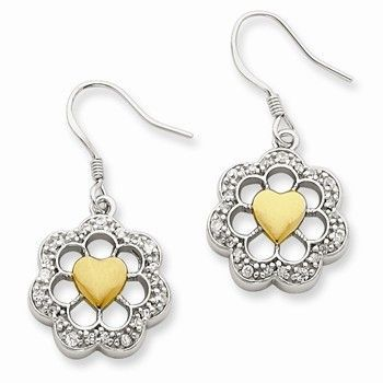 Sterling Silver Vermeil Round Floral Heart CZ Earrings