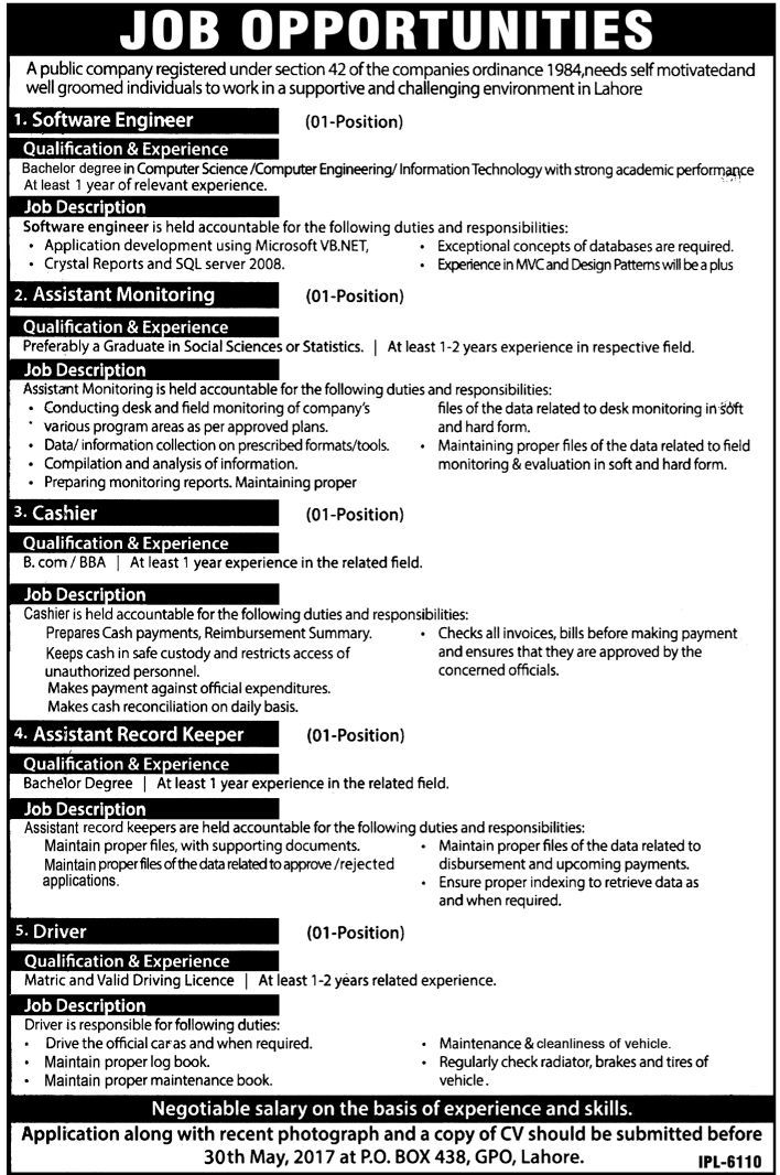 Software Engineer Job In Lahore Public Company, Assistant Monitoring,  Cashier 14 May