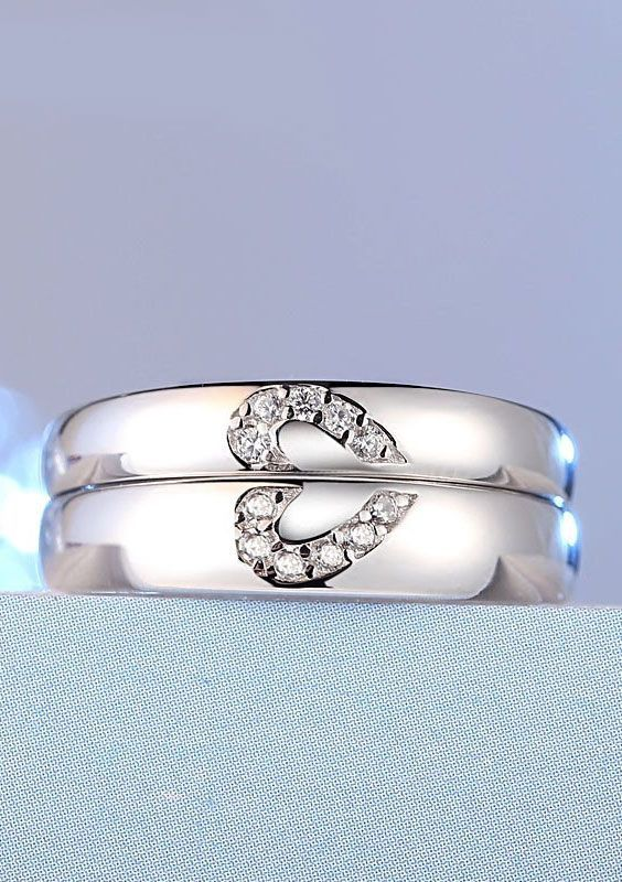 Diamond Accents Heart Promise Rings For Couples Jewelry Rings
