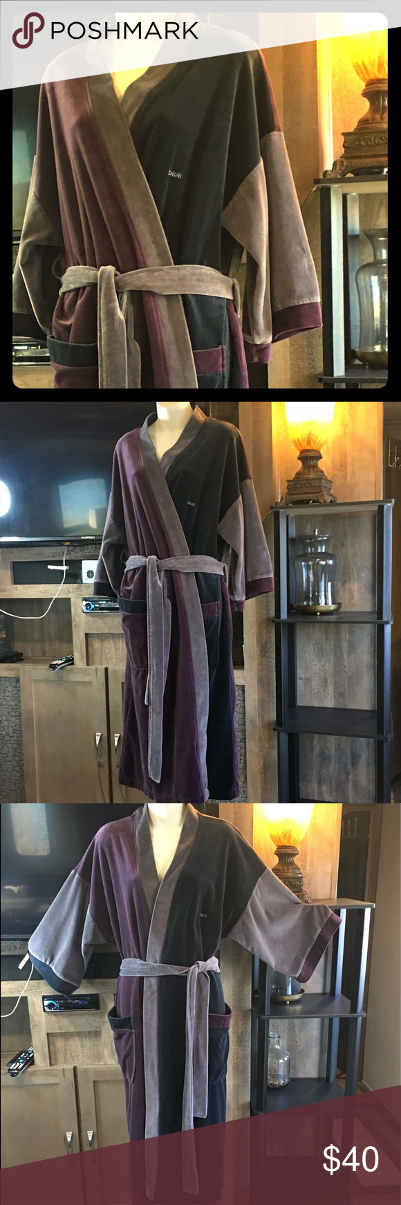 """👑CHRISTIAN DIOR VELOUR DELUXE ROBE 👑CHRISTIAN DIOR VELOUR VELVETEEN DELUXE ROBE 47"""" LONG FROM TOP OF NECKLINE. PLUSH TWO LOOP TIE. NO STAINS RIPS TEARS OR HOLES!! GOOD COMFY SOFT BEAUTIFUL CONDITION!  TAG SAYS DIOR MONSIEUR BUT I WORE FOR A TIME... could go either way. 😍. YOU WON'T WANT TO GET DRESSED! Dior Intimates & Sleepwear Robes"""