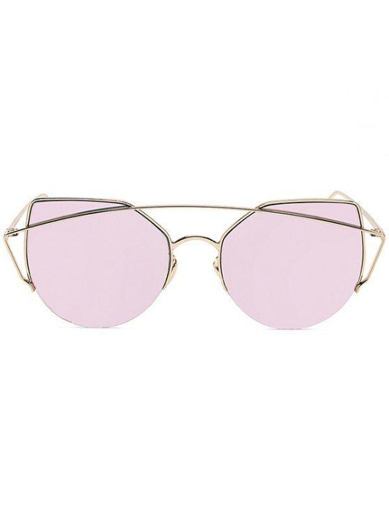 6ab9f43f6a8 Gold Crossbar Cat Eye Mirrored Sunglasses PINK  Sunglasses