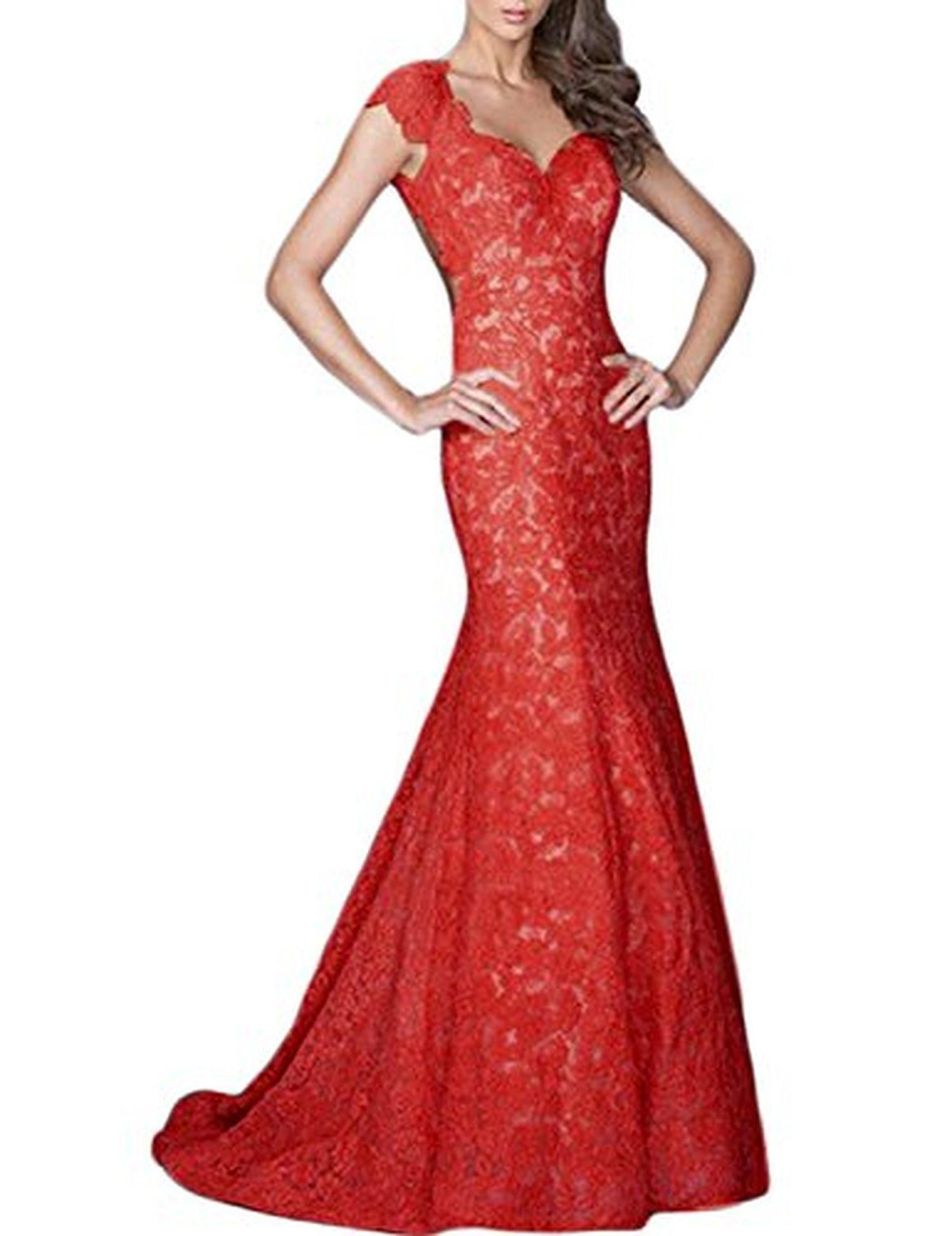 LucysProm Women's Prom Dresses Mermaid Open Back Lace with Sweetheart Dresses Size 2 US Red - Brought to you by Avarsha.com