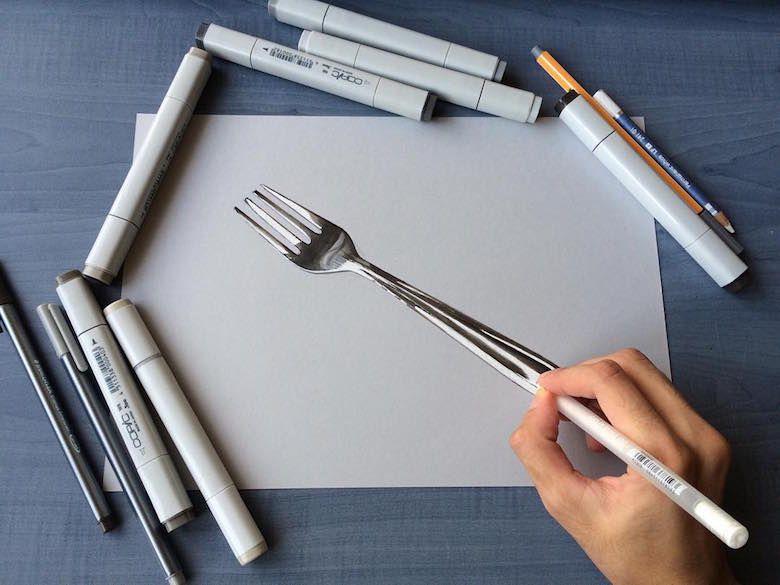 Hyperrealistic D Drawings By Sushant Rane Fork Art - Artist creates amazing hyper realistic 3d drawings