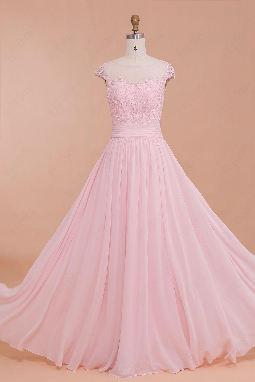 Classy Modest Pink Prom Dresses,Cap Sleeves Bridesmaid Dresses ...