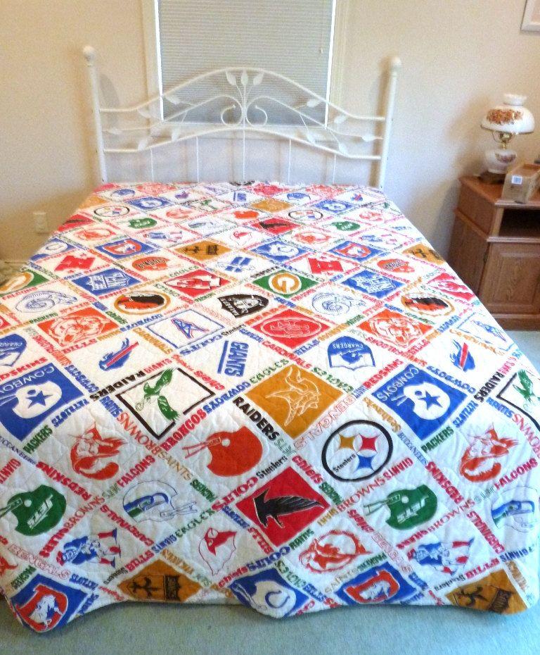 NFL Football Bedspread U0026 Drapes 70s Bedroom Decor. $44.00, Via Etsy.