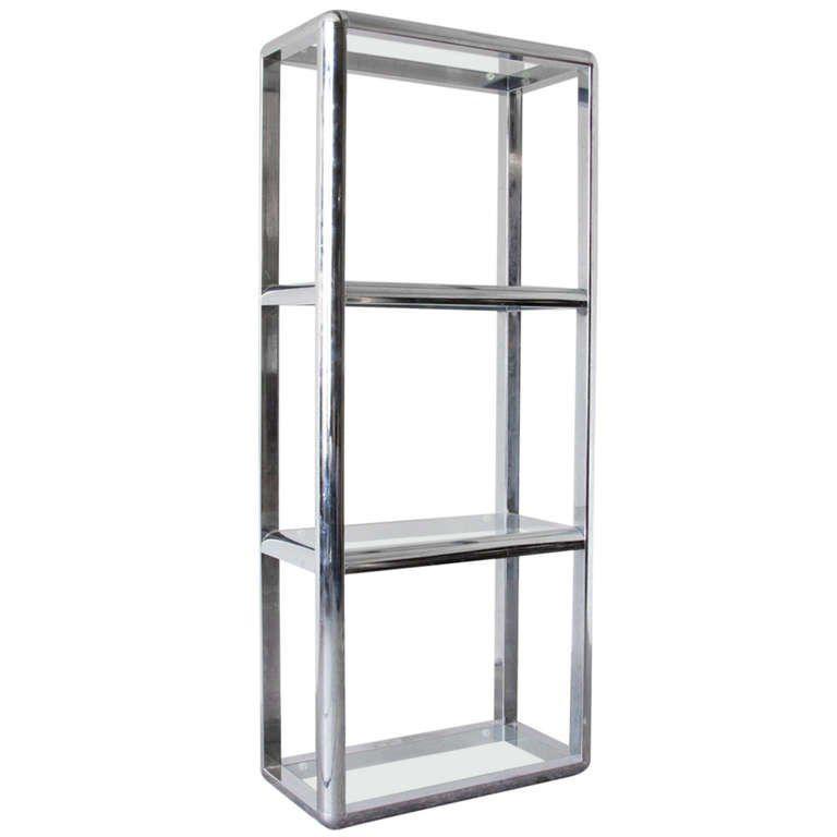 Chrome And Glass Etagere | Glass shelves, Shelves ...