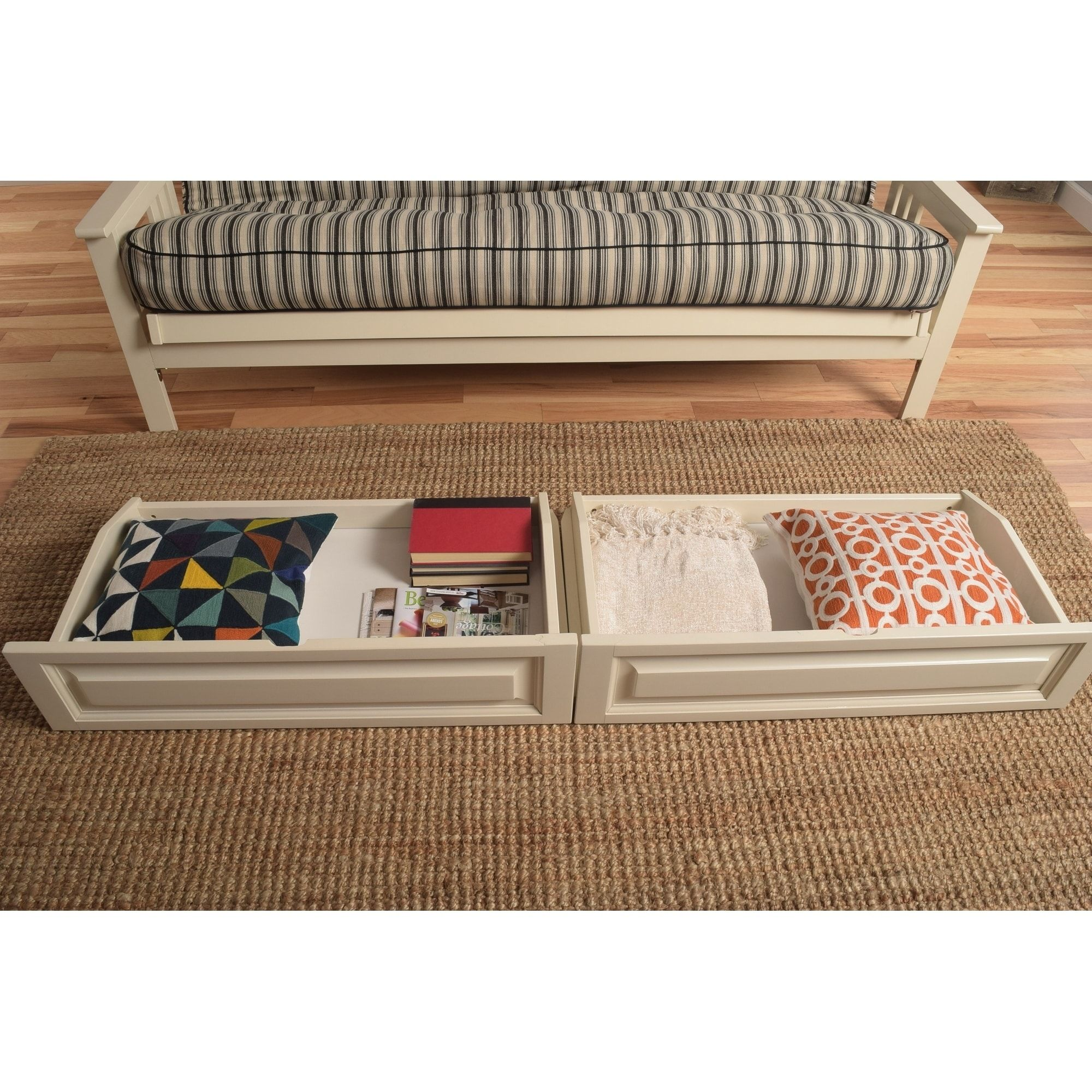 Somette Full Size Futon Storage Drawers Natural