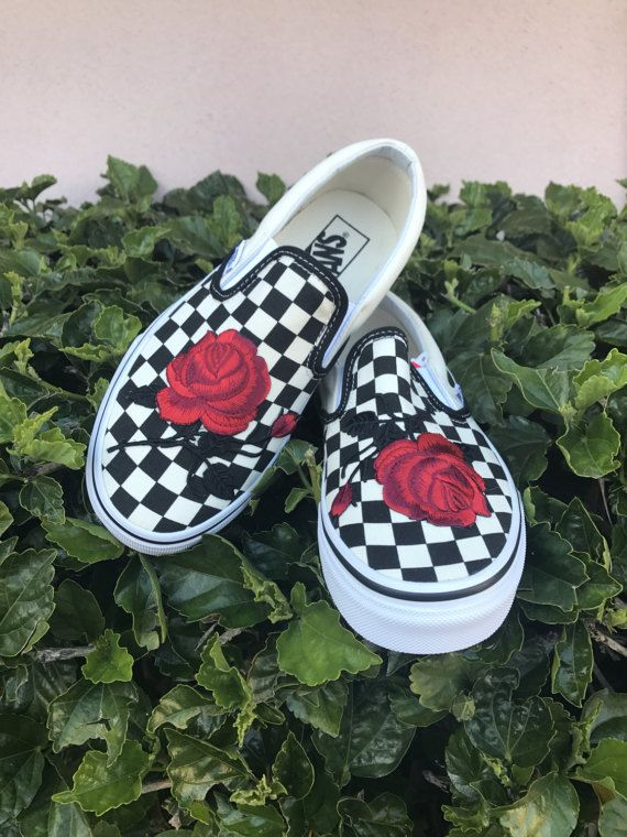 6ed01d08e23 Checkered Slip On Vans Rose Embroidery Shoes -- Sale Code Inside!!