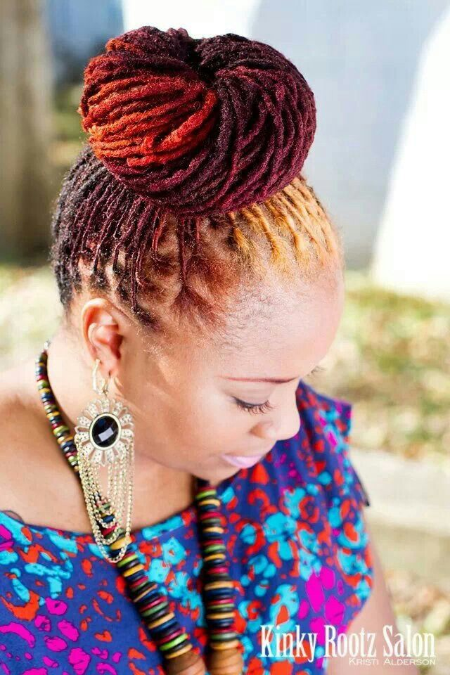Locs Bun Fab Color Hairstyle For Black Women Hair Styles Natural Hair Styles For Black Women Natural Hair Styles