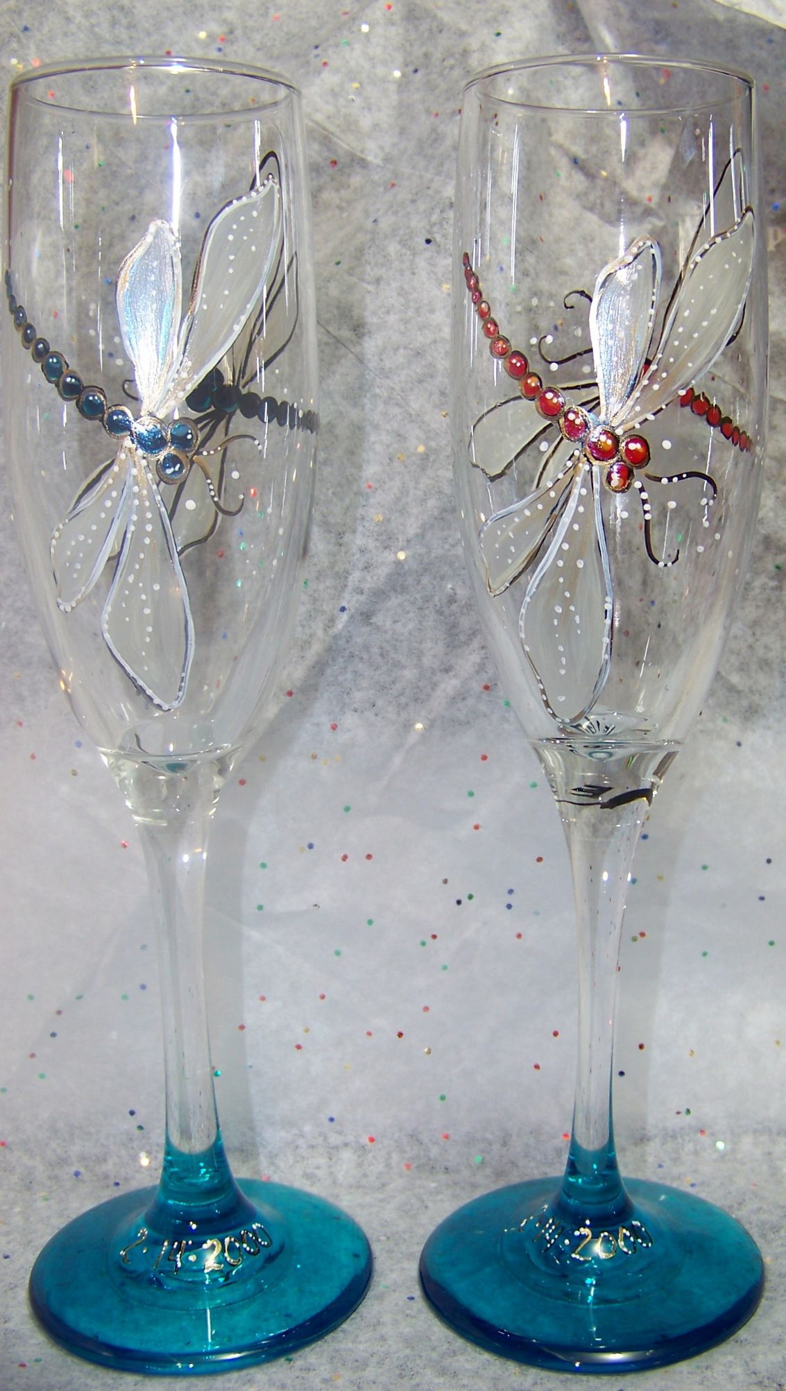 b6e6a381196 stained glass dragonfly | ... Hand painted Dragonfly Champagne Glass ...