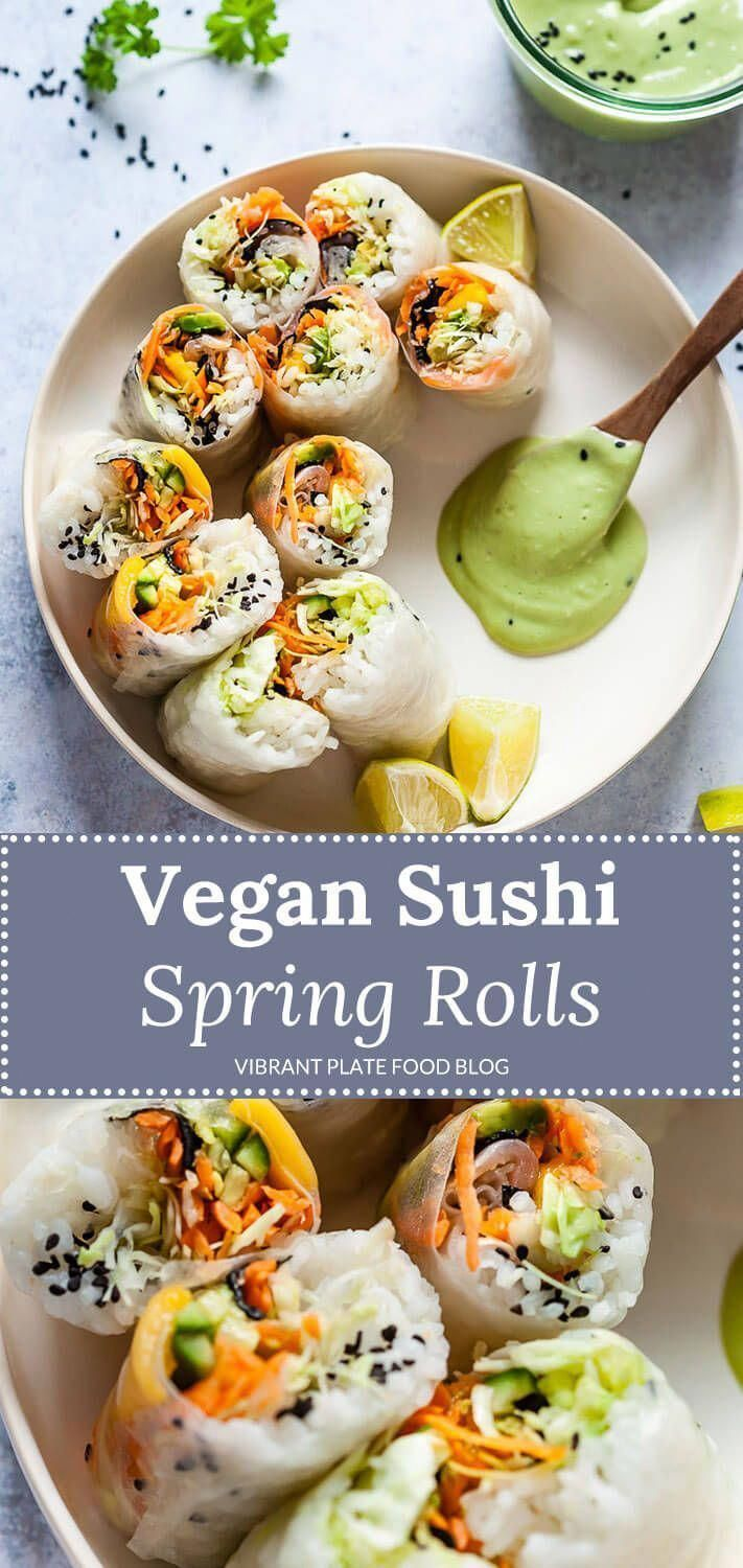 Amazing Vegan Fresh Sushi Spring Rolls with a delicious Green Avocado Dipping Sauce. Light, Vibrant and Ready in just 30 minutes #vegan #springrolls #veganrecipe #vegetarian #vegetarianrecipes #HowToEatHealthyNutrition