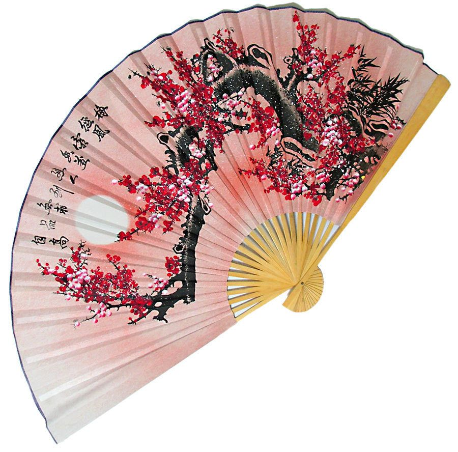 a beautiful sunrise wall hanging fan bamboo and silk cloth - Decorative Fans
