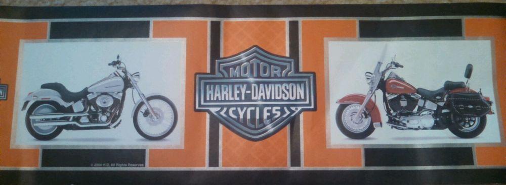 Genuine Harley Davidson Motorcycles Orange Black Frame Wall Paper