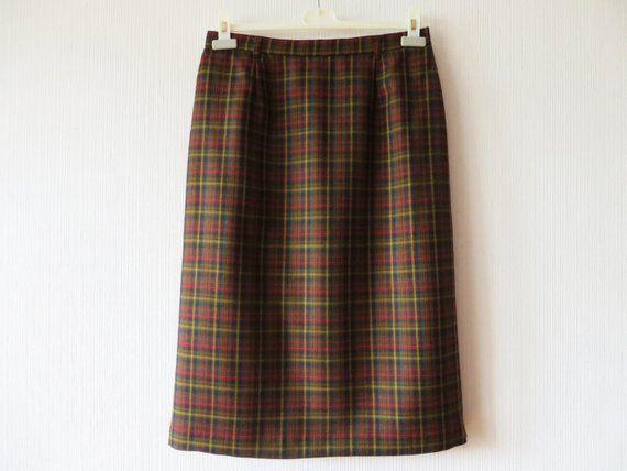 6087b3053 Vintage 80s Tartan Plaid Wool Skirt Midi Length Brown Plaid Wool Pencil  Skirt Woolmark Size Large