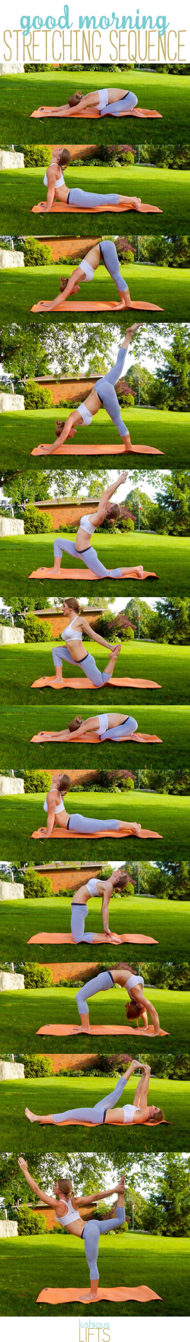 Good Morning Stretching Sequence. A few great stretches to help wake you up & energize you for the day! || lushiouslifts.com
