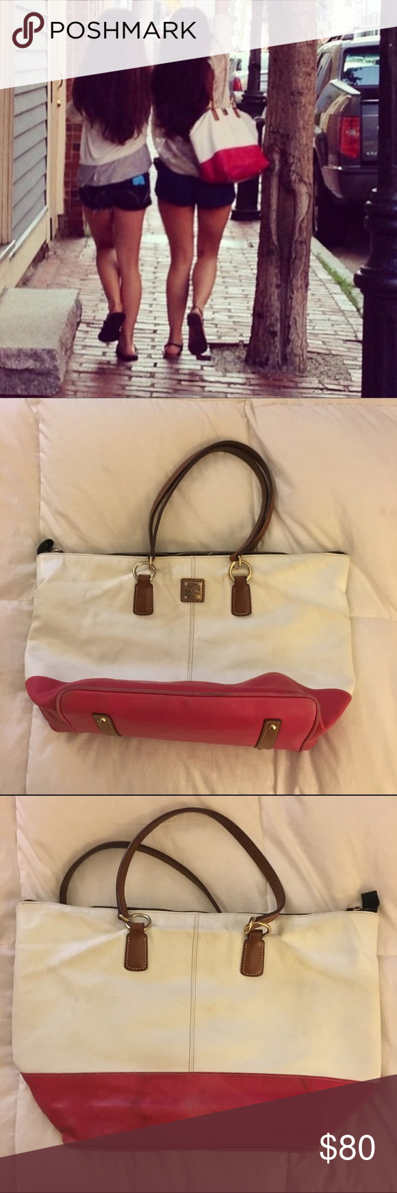 Designer Dooney Leather Tote A summer bag for sure. Leather exterior, cloth interior. Well loved and in great condition still. Easy to clean. 100% authentic. Brown leather trim on inner pockets and shoulder straps. I got a ton of compliments last summer! Dooney & Bourke Bags Totes