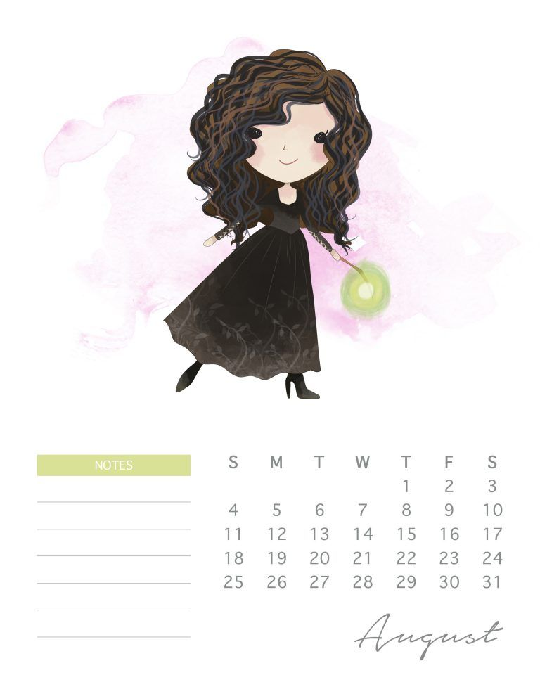 Free Printable 2019 Watercolor Harry Potter Calendar Harry Potter