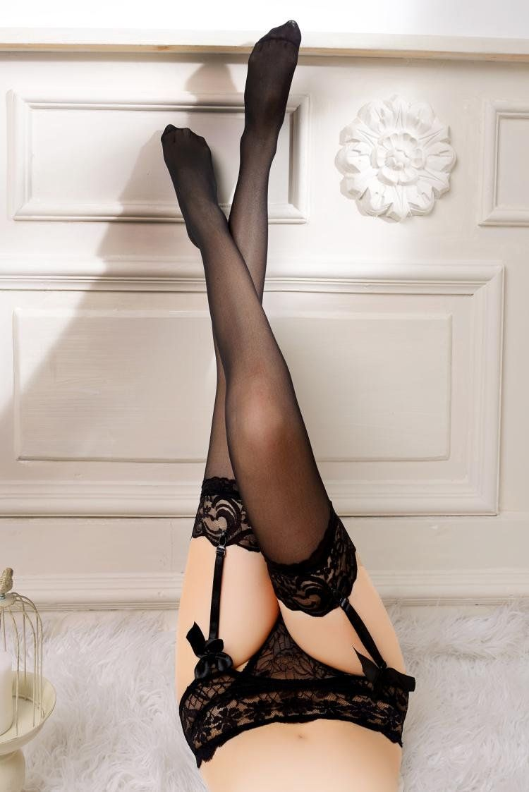 055ebddc42a MISMXC Womens 3 Pieces Lace Garter Belt Stockings Sets with Butterfly Panty  Black -- You can get additional details at the image link.