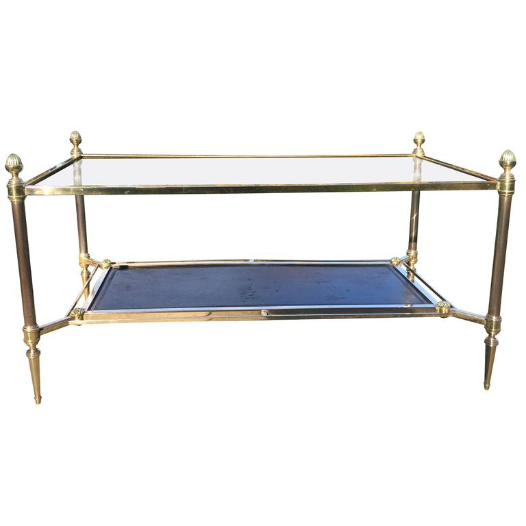 Maison Jansen Neoclassical Glass Top Coffee Table Glass Top