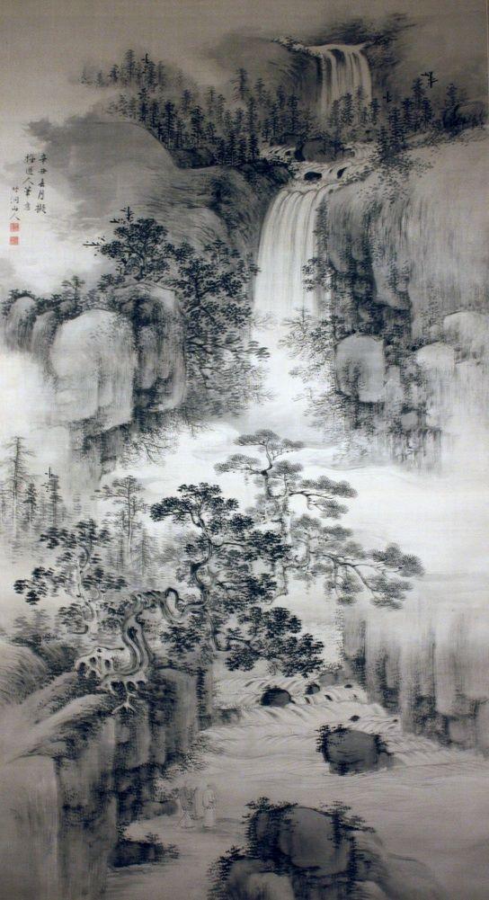 Landscape With A Waterfall By Nakabayashi Chikuto 1776 1853