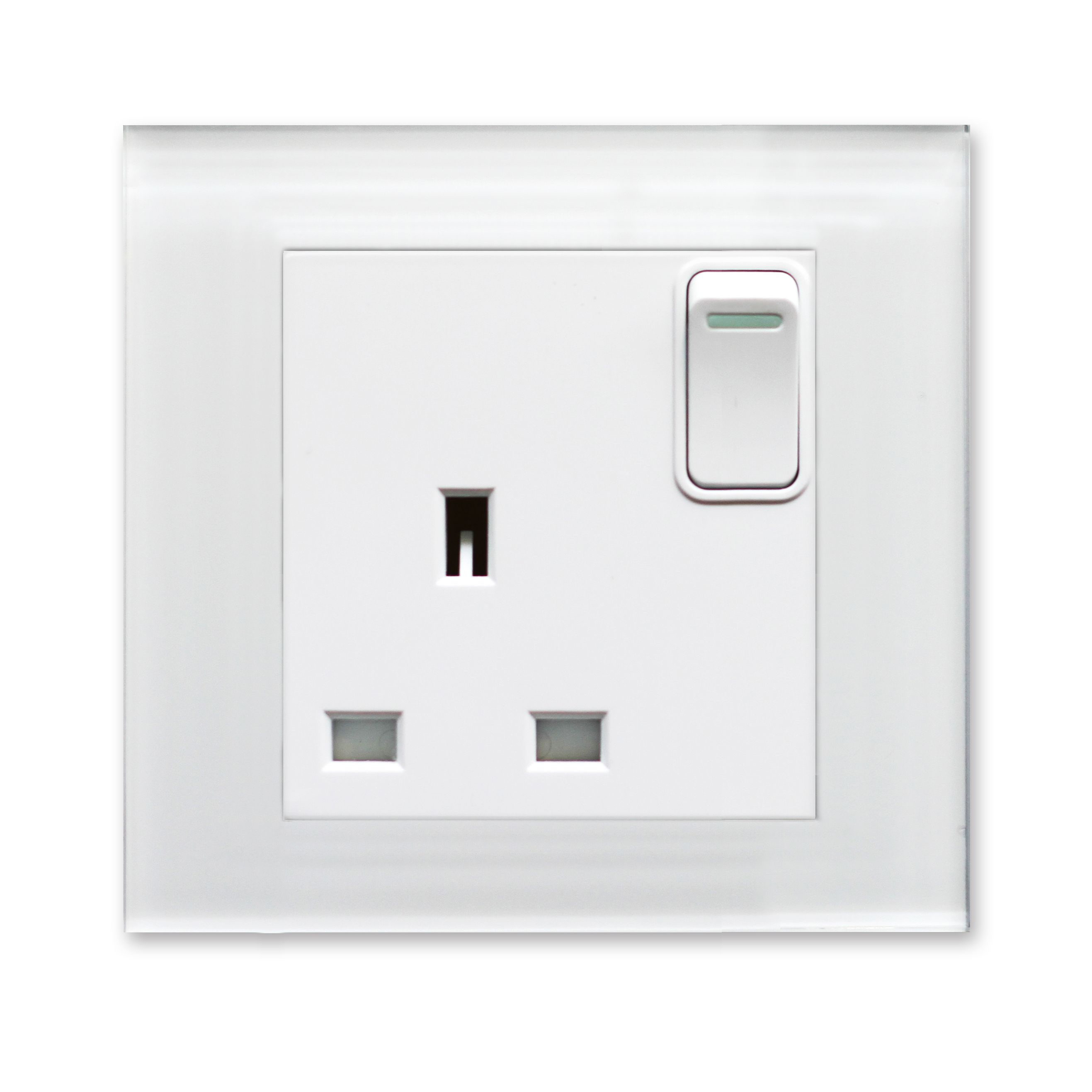 Crystal PG Single switched socket White PG Glass Plug sockets by