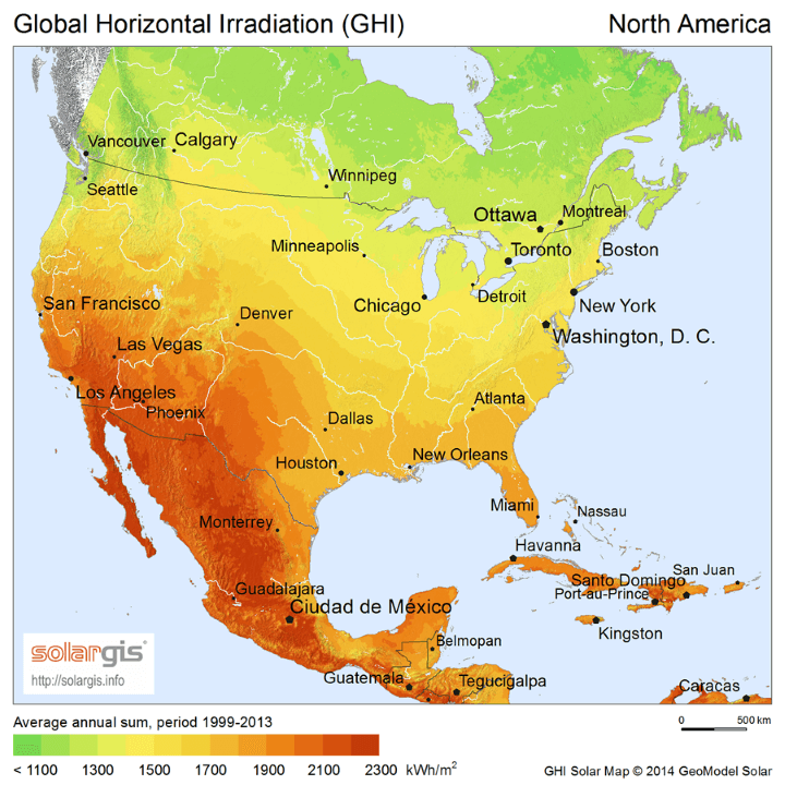 Solar Energy Potential Map Of North America Earth Building - Solar power map us
