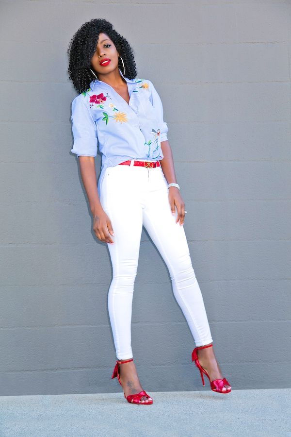 Style Pantry | Embroidered Buttoned Down Shirt + White Skinny Jeans