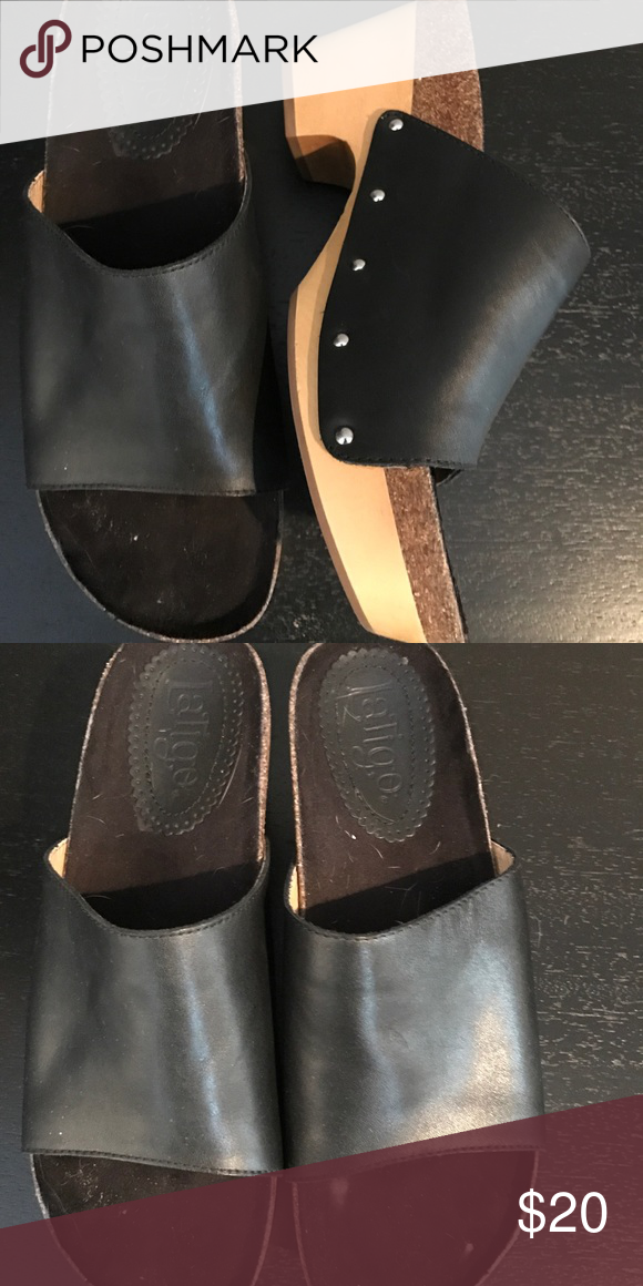 acc1199fe4b Platform black slides Black slide with wood studded sole. Shoes Mules    Clogs