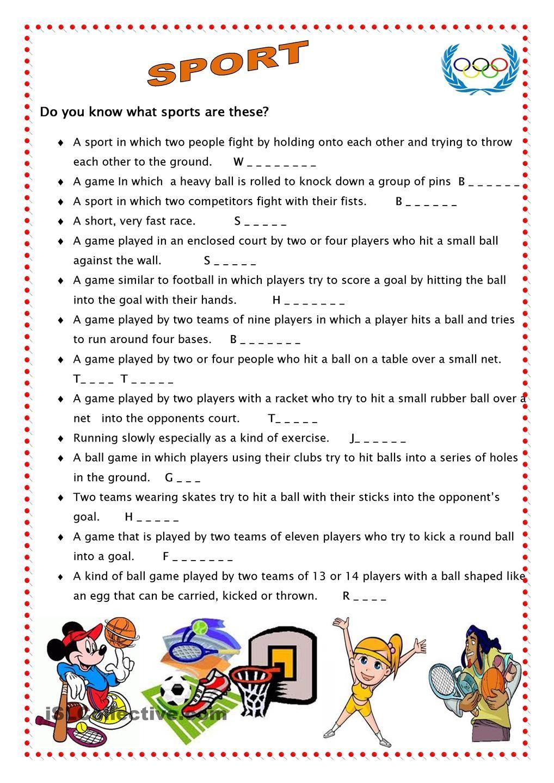 Sport 4 Teach english to kids, Sport english, Sports