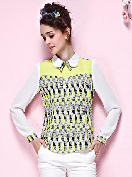 Yellow Geometric Pattern Blouse With White Sleeve | Persunmall