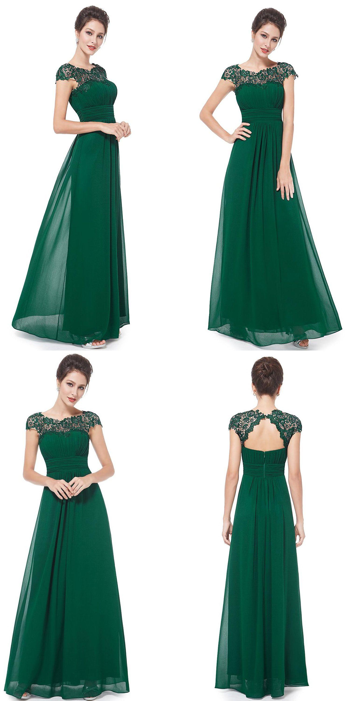 Long dark green dress  ALine Bateau Cap Sleeves Open Back Dark Green Chiffon Bridesmaid