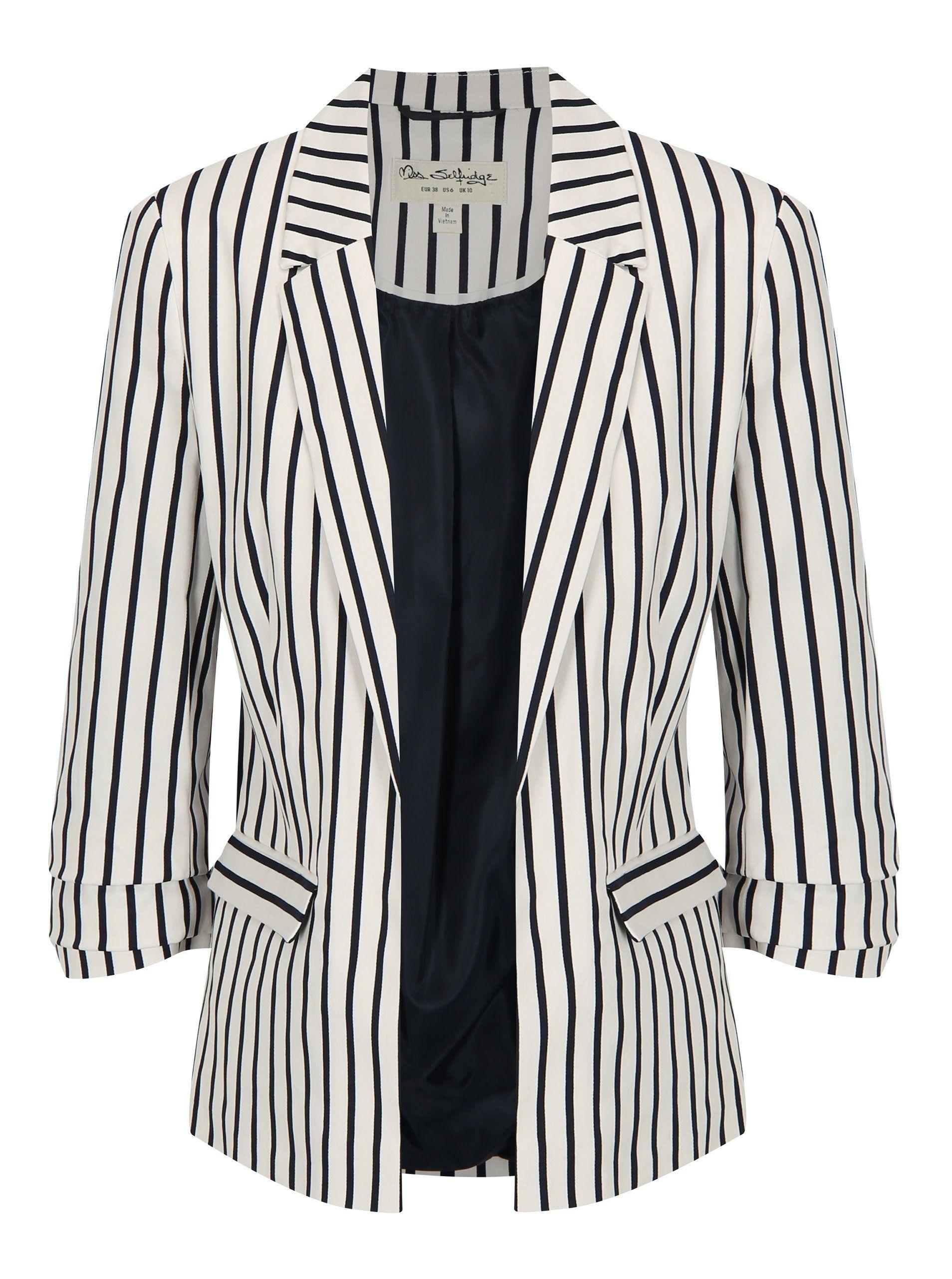 04919adecb24 Modro-biele kostýmové pruhované sako Miss Selfridge