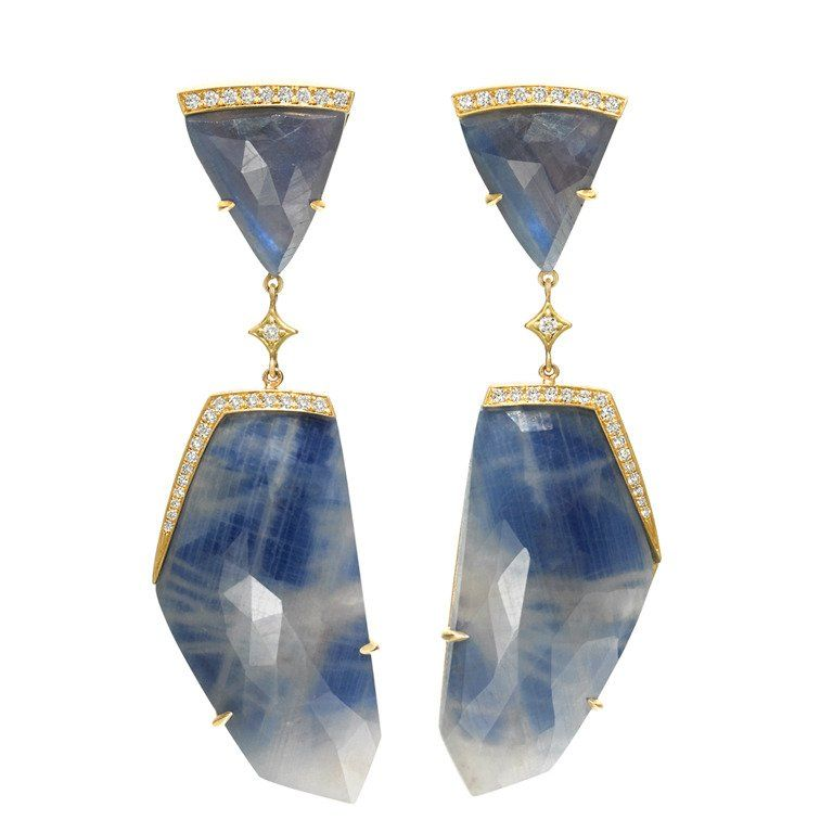 Anahita One of a Kind Faceted Blue Sapphire Diamond Gold Dangle Drop Earrings | From a unique collection of vintage dangle earrings at https://www.1stdibs.com/jewelry/earrings/dangle-earrings/