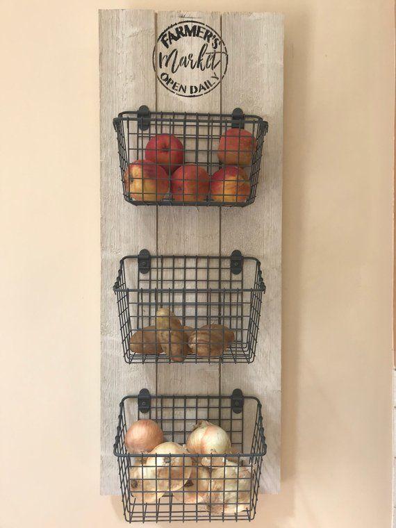 Kitchen Organizer Fruit And Veggie Organizer Kitchen Etsy Kitchen Baskets Small Kitchen Decor Kitchen Organization Diy