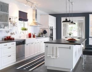 Love the black & white theme with these #IKEA #Kitchen cabinets. by cathryn