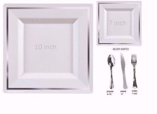 tableware set wedding party disposable plastic plates silverware square silver