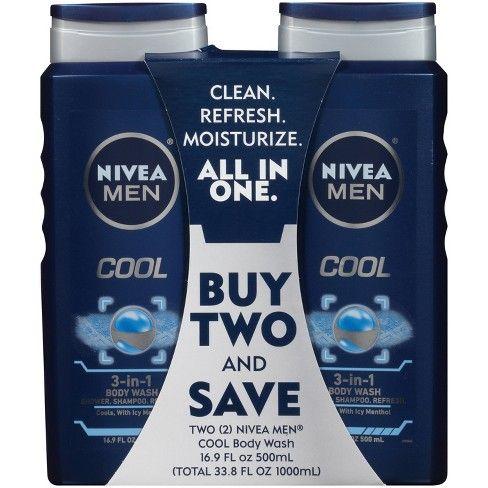Nivea Men Cool 3 In 1 Body Wash 2pk 16 9oz Target