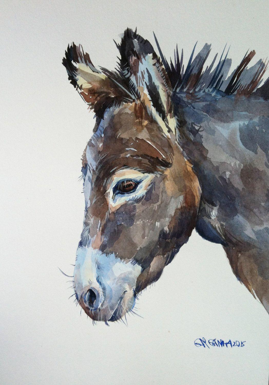 donkey portrait farm animal original watercolor painting