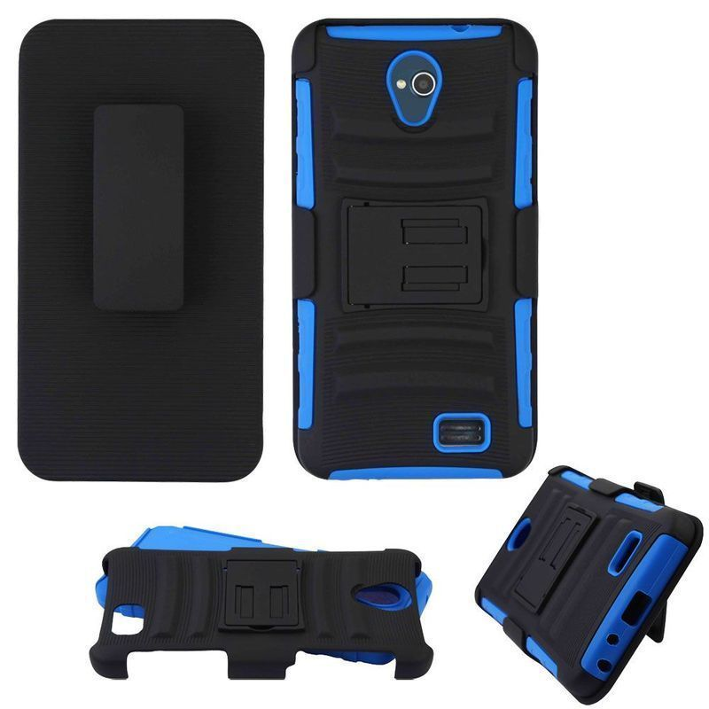 Insten / Blue Advanced Armor Hard Snap-on Dual Layer Hybrid Case Cover with Stand/ Holster For ZTE Prestige 2