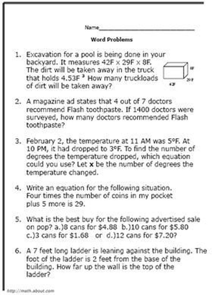 What Are Some Good Math World Problems for 8th-Graders? Math - sample word problem worksheets