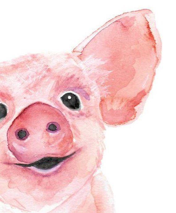 Watercolor Painting Of Piglet Pig Wall Art Baby Animal Etsy Watercolorarts Peinture Toile Peinture Art Mural