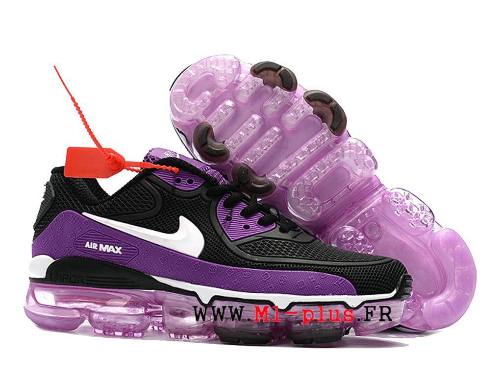 timeless design 83713 e6072 Off White X Nike Air Max 90 Gs Goutte à goutte Sneakers Femme Noir blanc  violet
