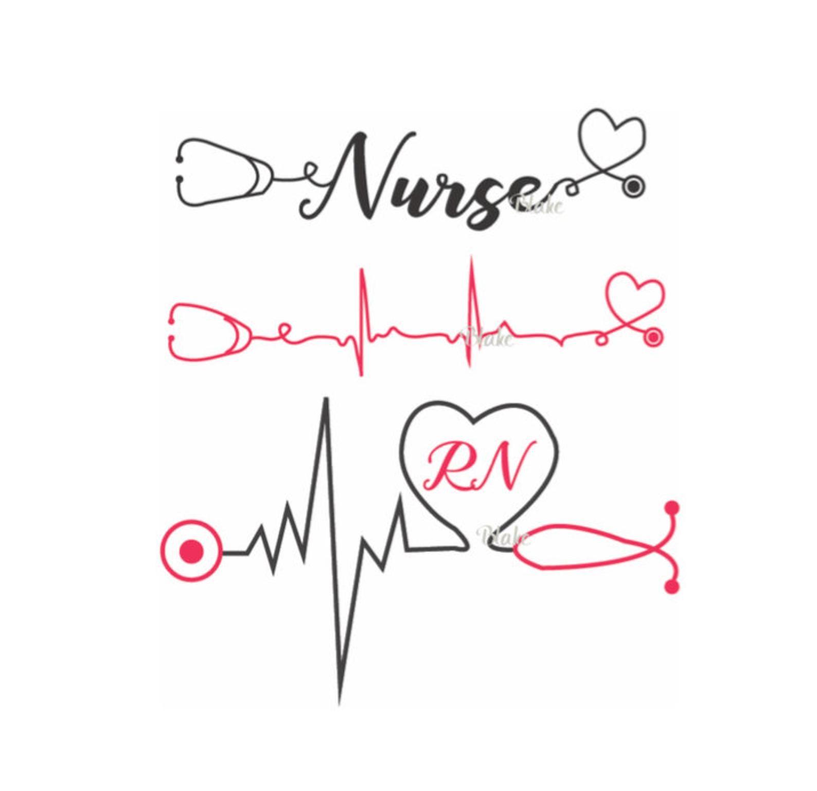 Enfermera con latidos del corazón y estetoscopio svg